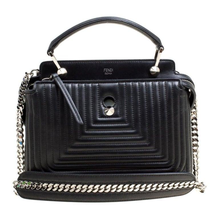 Fendi Black Quilted Leather Dotcom Click Shoulder Bag For Sale