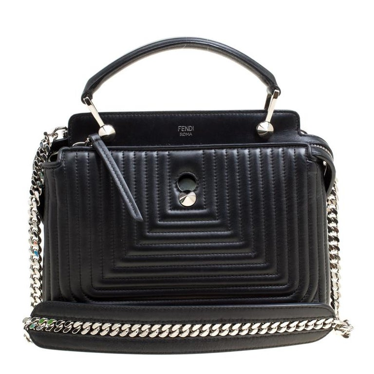 Fendi Black Quilted Leather Dotcom Click Shoulder Bag For Sale at 1stdibs b2bdab2516e4a