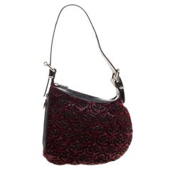 Fendi Black/Red Lizard Skin and Beaded Fabric Oyster Hobo