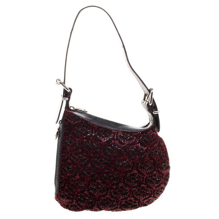 Fendi Black/Red Lizard Skin and Beaded Fabric Oyster Hobo For Sale