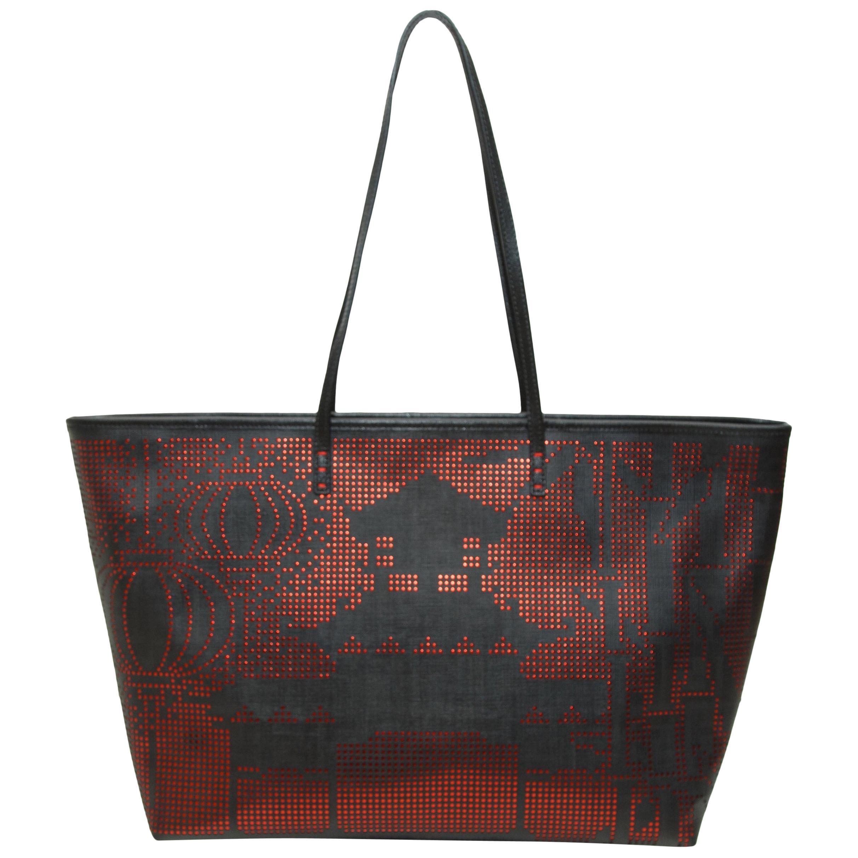 Fendi Black & Red Zucca Tote Bag