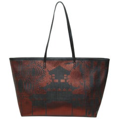 Fendi Black & Red Zucca Tote Bag