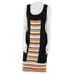 Fendi Black Rib Knit Multicolor Stripe Paneled Sleeveless Sheath Dress M