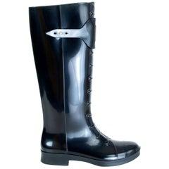 FENDI black rubber BERLIN RAIN Boots Shoes 35
