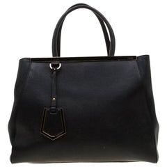 Fendi Black Saffiano Leather 2Jours Tote