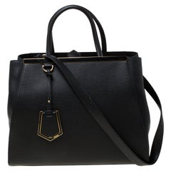 Fendi Black Saffiano Leather Medium 2Jours Tote