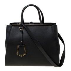 Fendi Black Saffiano Leather Medium 2Jours Tote