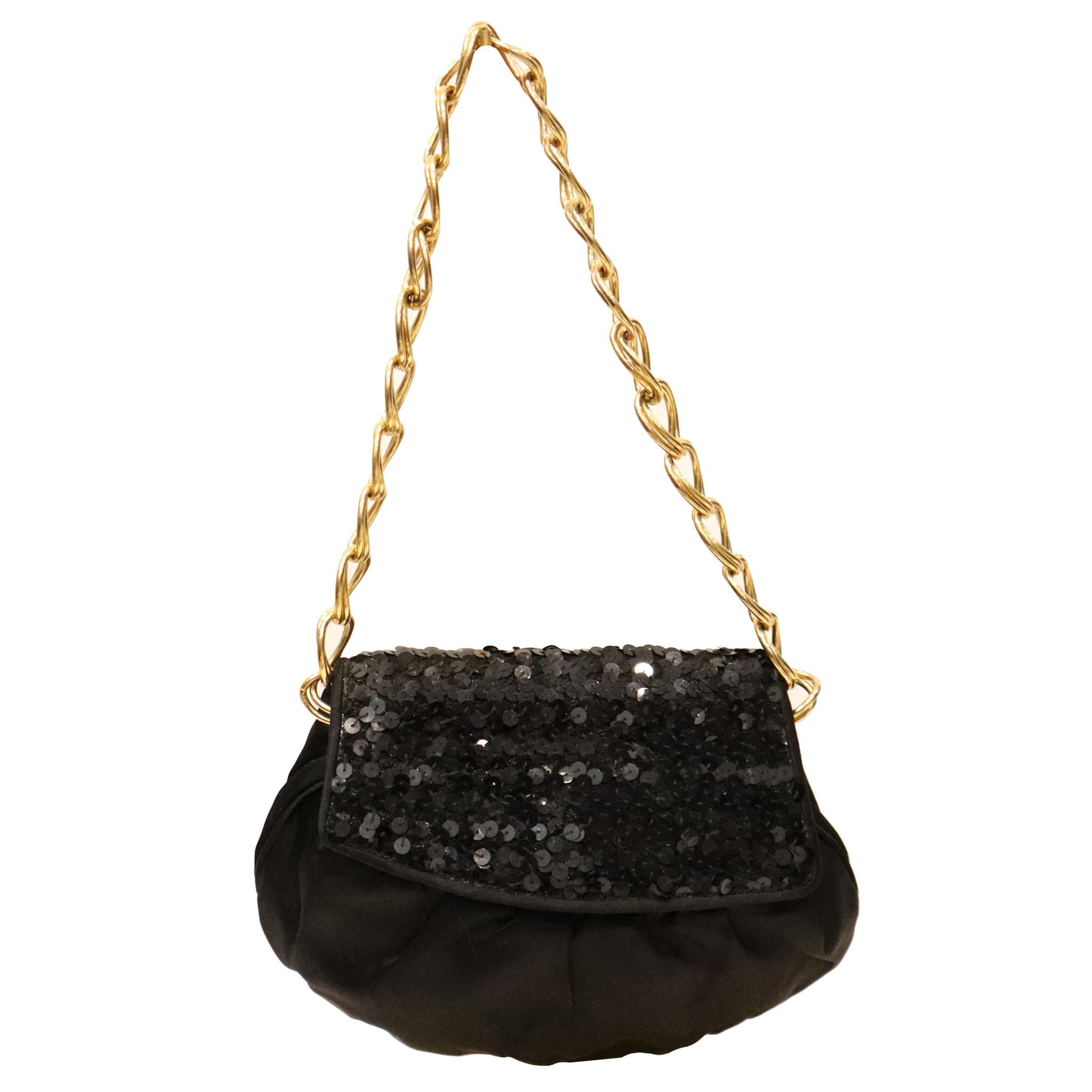 Fendi Black Satin and Sequin Clutch Bag