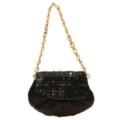 Fendi Black Satin and Sequin Clutch Bag
