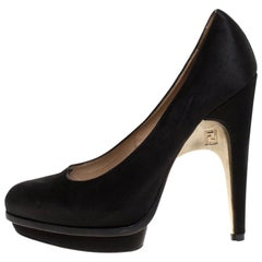 Fendi Black Satin Bridge Heel Platform Pumps Size 40