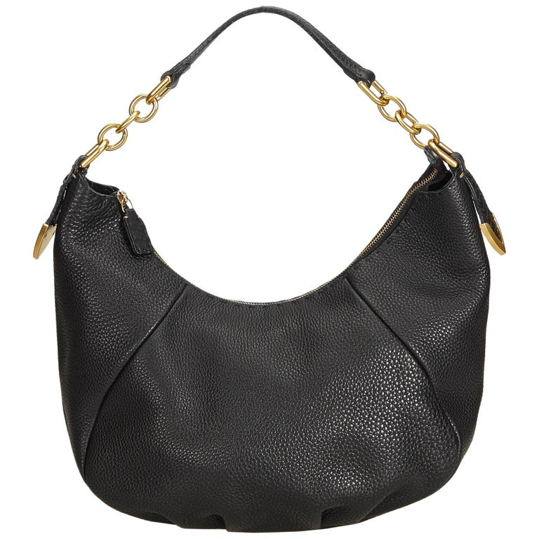 3632636c45fb Fendi Black Selleria Leather Chain Hobo Bag at 1stdibs