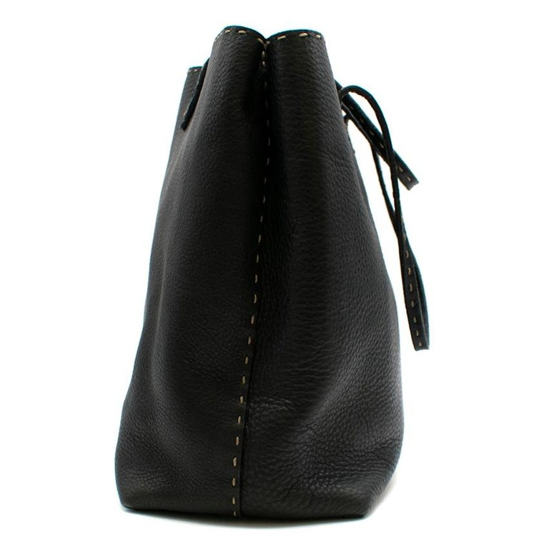 Fendi Black Selleria Leather Tote Bag 39.5cm In Excellent Condition For Sale In London, GB