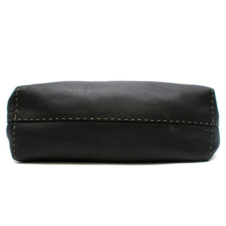 Women's Fendi Black Selleria Leather Tote Bag 39.5cm For Sale