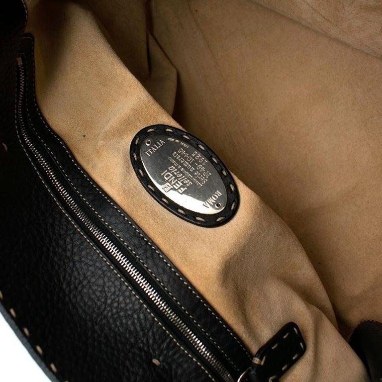 Fendi Black Selleria Leather Tote Bag 39.5cm For Sale 1
