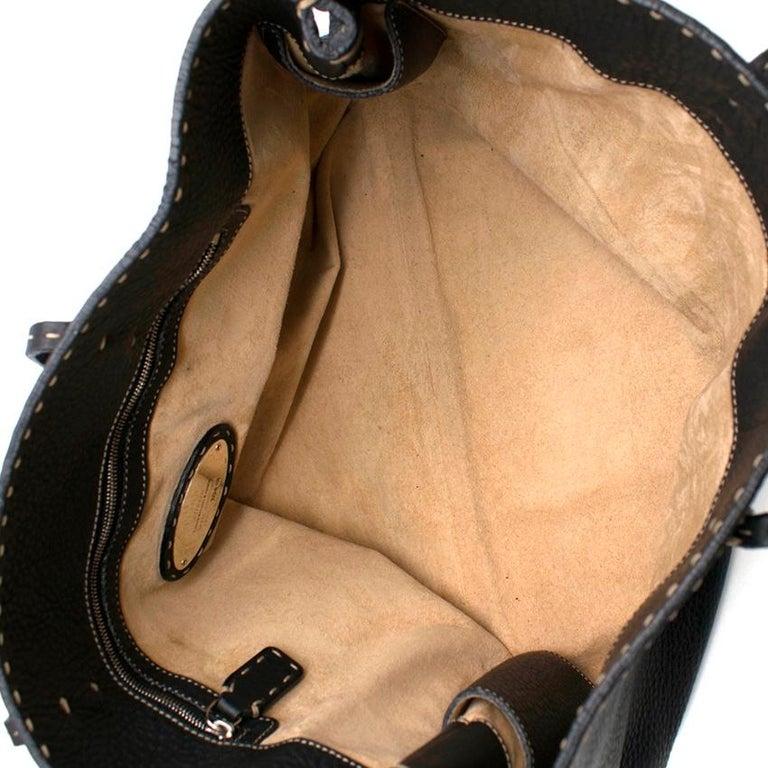 Fendi Black Selleria Leather Tote Bag 39.5cm For Sale 2