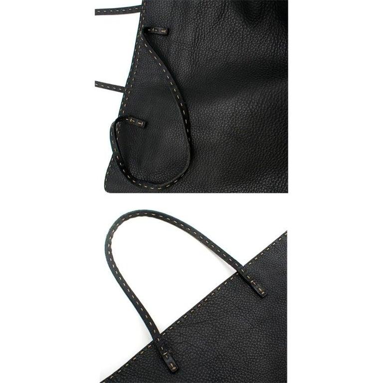 Fendi Black Selleria Leather Tote Bag 39.5cm For Sale 3