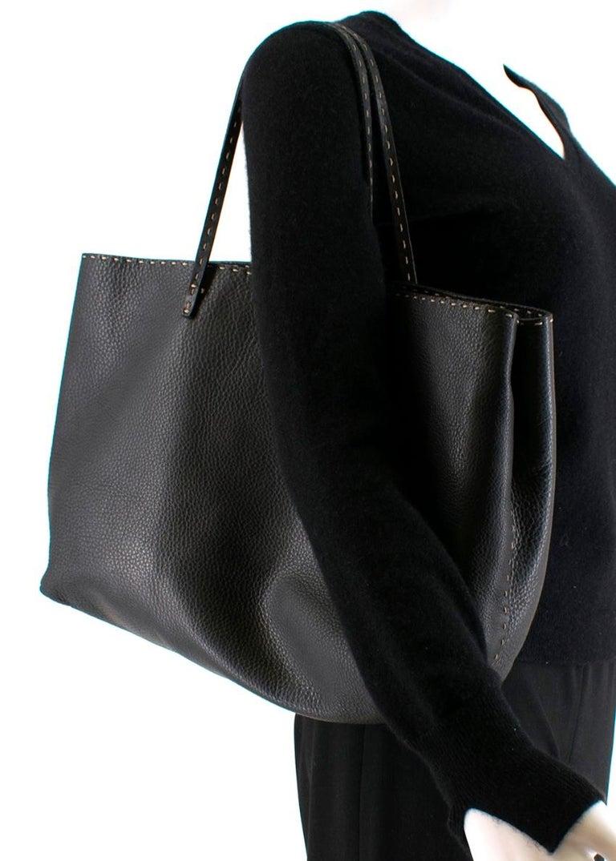 Fendi Black Selleria Leather Tote Bag 39.5cm For Sale 4