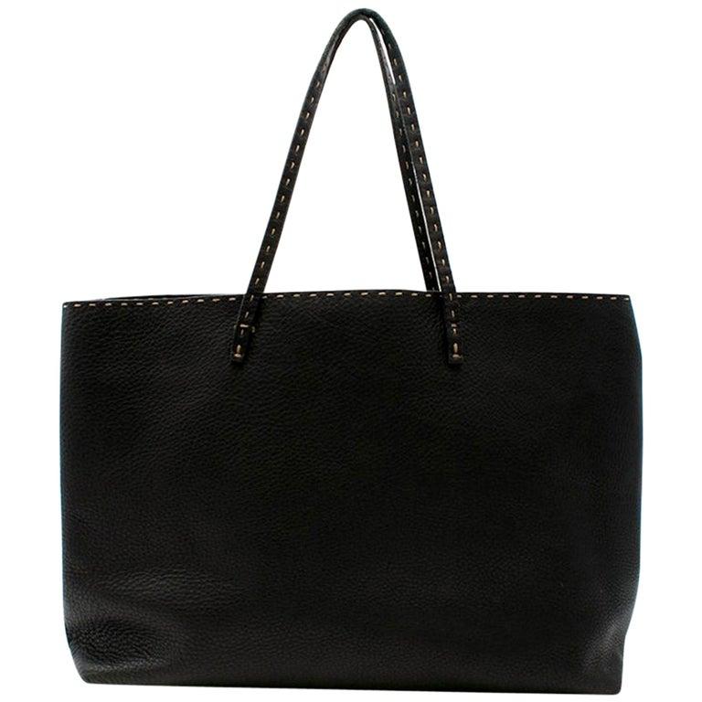 Fendi Black Selleria Leather Tote Bag 39.5cm For Sale