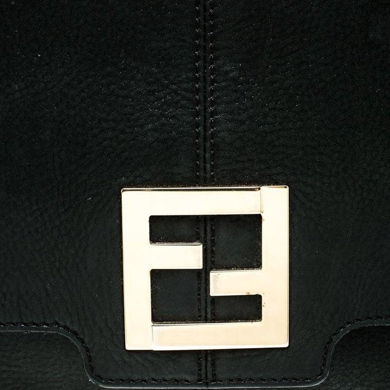 Fendi Black Shimmering Leather Shoulder Bag For Sale 6