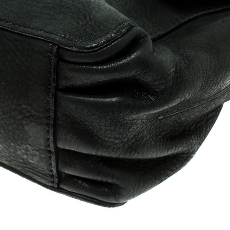 Fendi Black Shimmering Leather Shoulder Bag For Sale 7