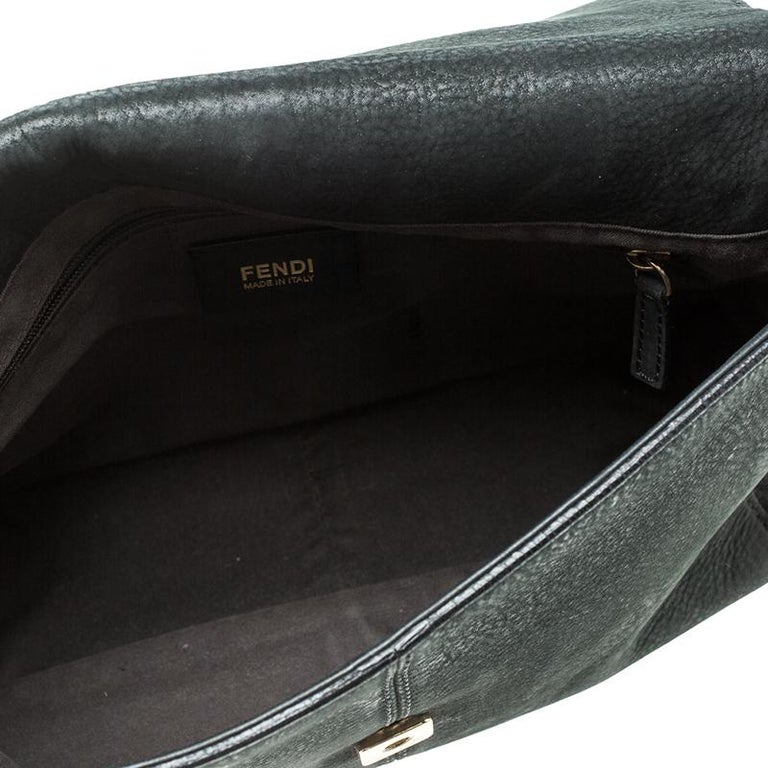 Fendi Black Shimmering Leather Shoulder Bag For Sale 8