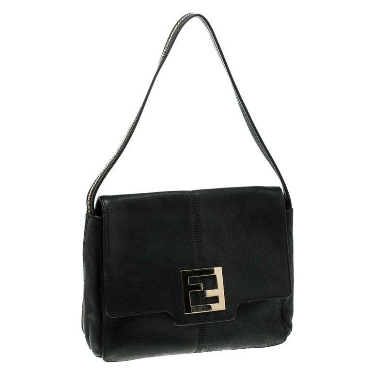 Women's Fendi Black Shimmering Leather Shoulder Bag For Sale