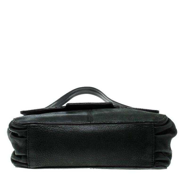 Fendi Black Shimmering Leather Shoulder Bag For Sale 1