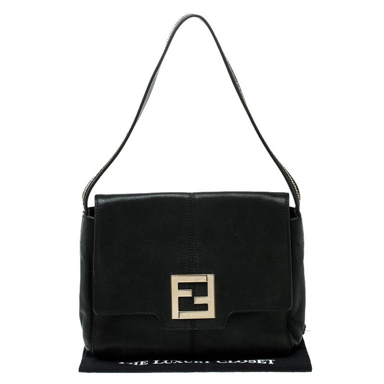 Fendi Black Shimmering Leather Shoulder Bag For Sale 2