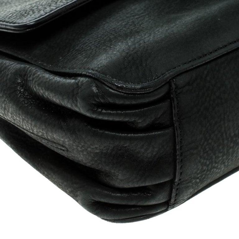 Fendi Black Shimmering Leather Shoulder Bag For Sale 4
