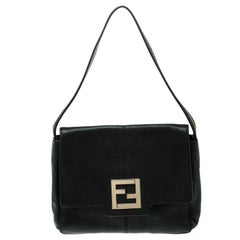 Fendi Black Shimmering Leather Shoulder Bag
