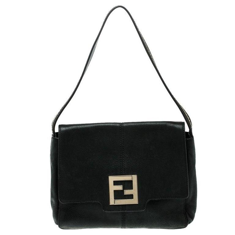 Fendi Black Shimmering Leather Shoulder Bag For Sale