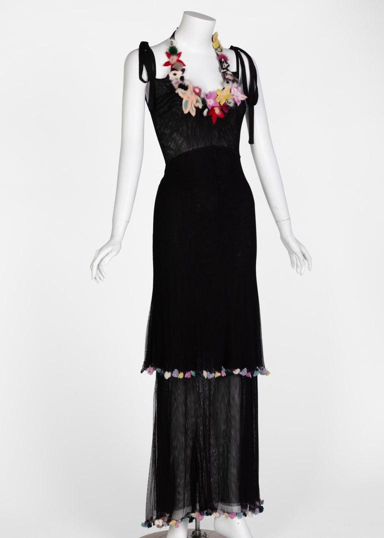 Fendi Black Silk Mesh Tiered Hourglass Fur Floral Applique Maxi Dress In Excellent Condition For Sale In Boca Raton, FL