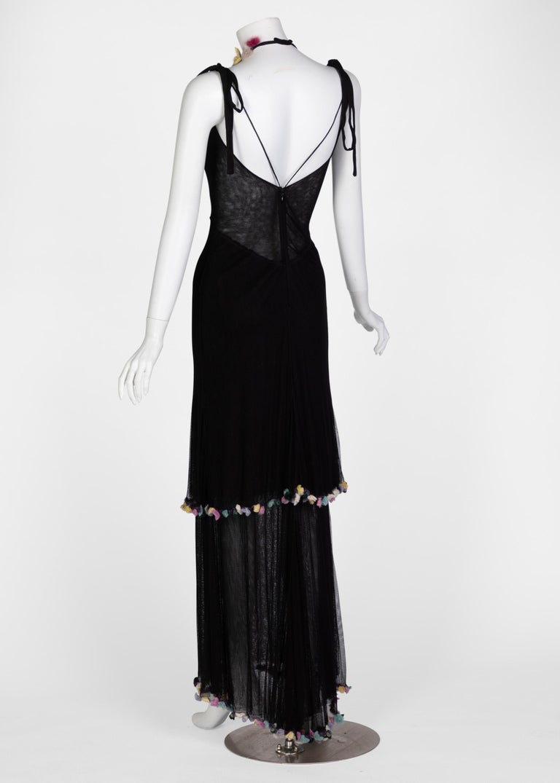 Women's or Men's Fendi Black Silk Mesh Tiered Hourglass Fur Floral Applique Maxi Dress For Sale
