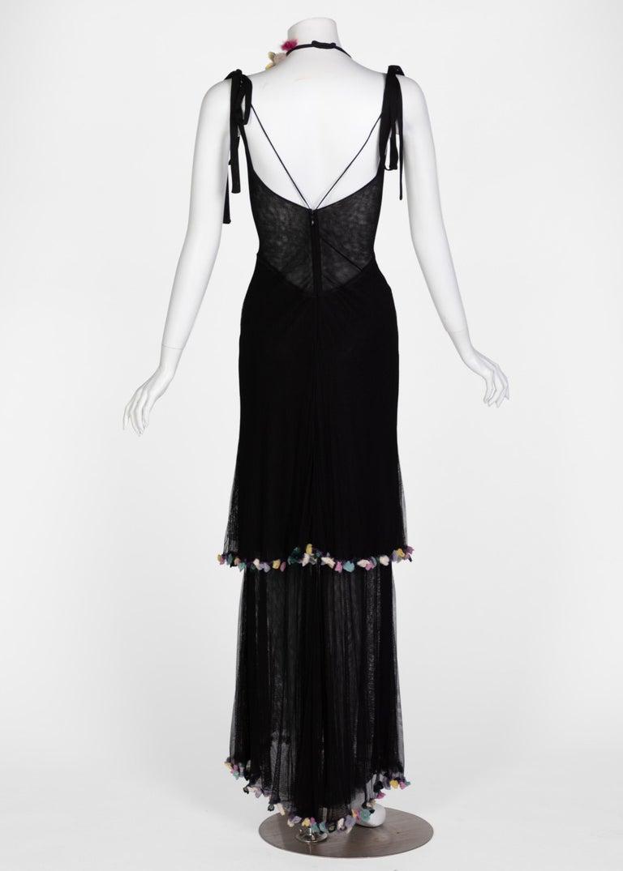 Fendi Black Silk Mesh Tiered Hourglass Fur Floral Applique Maxi Dress For Sale 1