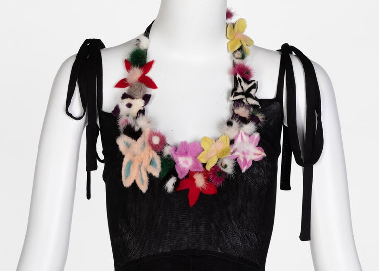 Fendi Black Silk Mesh Tiered Hourglass Fur Floral Applique Maxi Dress For Sale 2