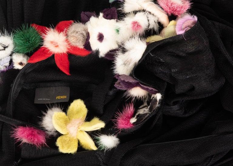 Fendi Black Silk Mesh Tiered Hourglass Fur Floral Applique Maxi Dress For Sale 4