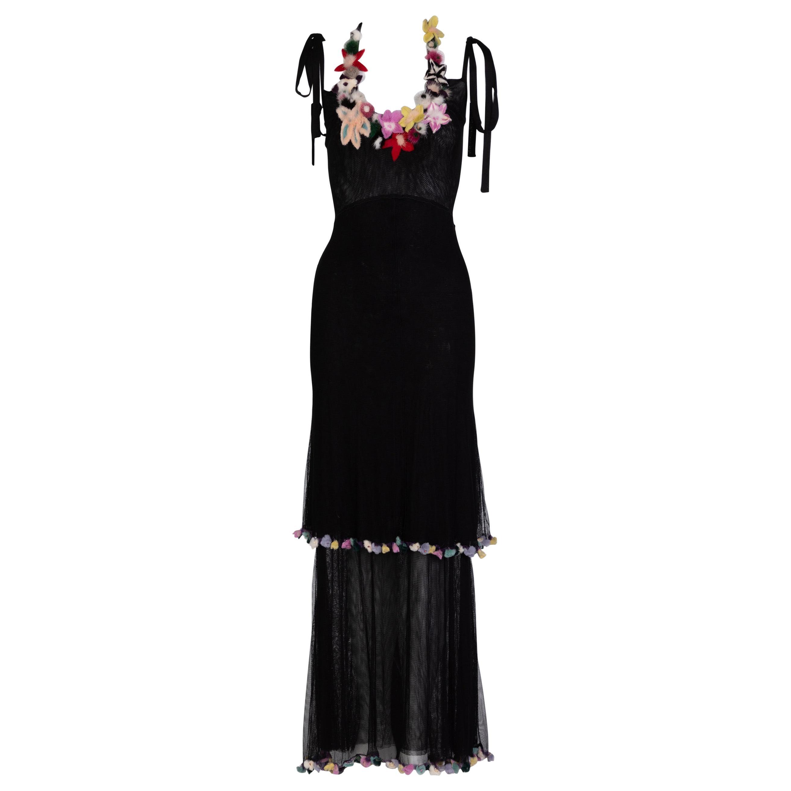 Fendi Black Silk Mesh Tiered Hourglass Fur Floral Applique Maxi Dress