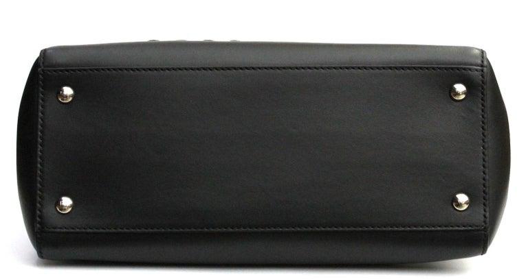 Women's FENDI Black Smooth Calfskin Leather Dotcom Satchel Bag