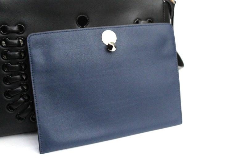 FENDI Black Smooth Calfskin Leather Dotcom Satchel Bag 1
