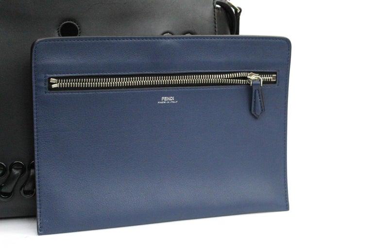 FENDI Black Smooth Calfskin Leather Dotcom Satchel Bag 2