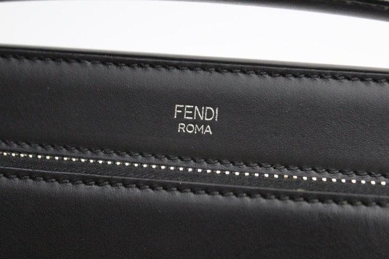 FENDI Black Smooth Calfskin Leather Dotcom Satchel Bag 5