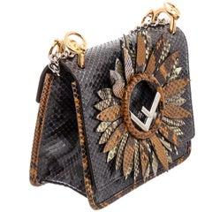 Fendi Black Snakeskin Floral Kan I Accented Micro Bag
