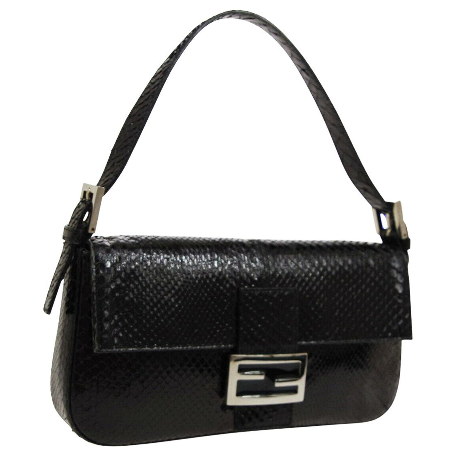 413fa055 Fendi Black Snakeskin Silver Small Evening Top Handle Satchel Flap Bag