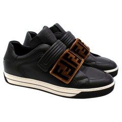 Fendi Black Sneakers with Velvet Monogram Detail - Us size 8