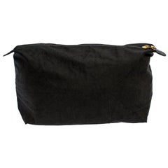Fendi Black Soft Fabric Top Zip Pouch