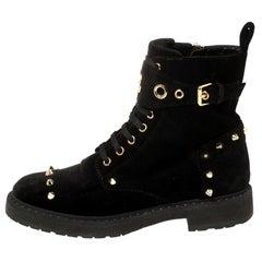 Fendi Black Studded Velvet F Logo Ankle Boots Size 36