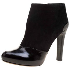 Fendi Black Suede and Patent Leather Booties Size 40
