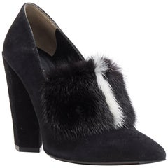 FENDI black suede black white mink fur front point toe chunky heel pump EU37.5