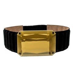Fendi Black Suede Crystal Wide Elastic Belt 85cm