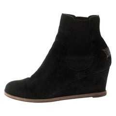 Fendi Black Suede Wedge Heel Ankle Boots Size 39